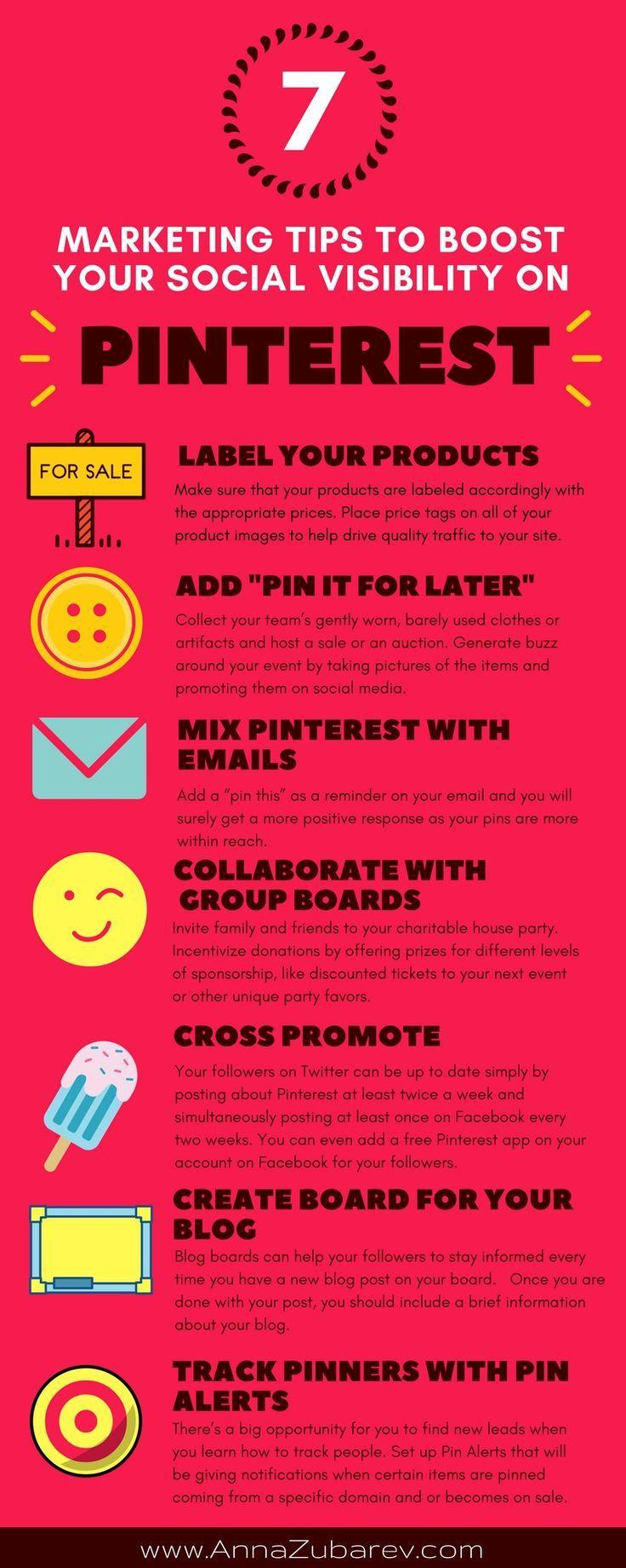 7 Marketing Tips to Boost Your Social Visibility on Pinterest. via /annazubarev/ via /https/://www.pinterest.com/annazubarev/