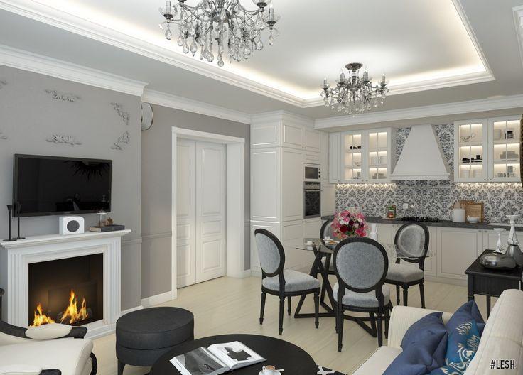 Дизайн кухни в современном классическом стиле  #дизайн #интерьер #классика #современнаякласика #оформление #дизайнинтерьера #дизайнпроект #спб #lesh