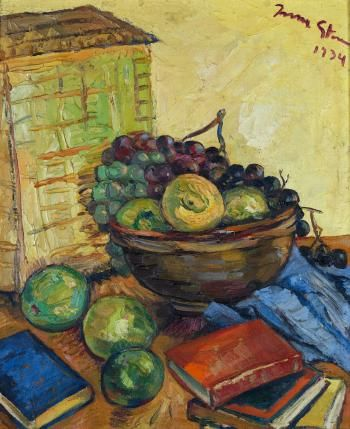 IRMA STERN Still Life with Fruit and Books (1934)