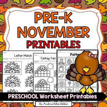 November Preschool Morning Work | Andrea Marchildon's TpT