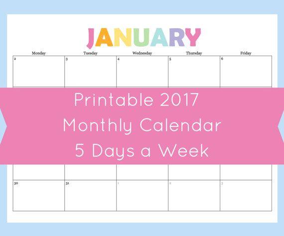 5 day a week monthly calendar printable