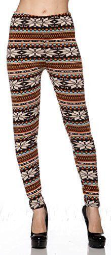 Heavy Weight (Fur Inside)Stretch Long Legging Yoga/Gym Pants (Orange Brown Snowflakes)