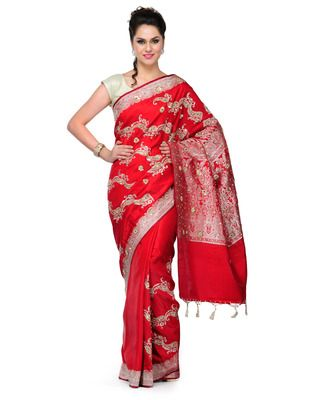 Maroon Jardozi embroidery satin Hand woven saree with blouse 60% Off, Buy now @ Rs 7272