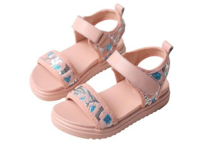 New Cute English Pink Rose Metallic Kids Children Girls Beach Party Sandal Shoes