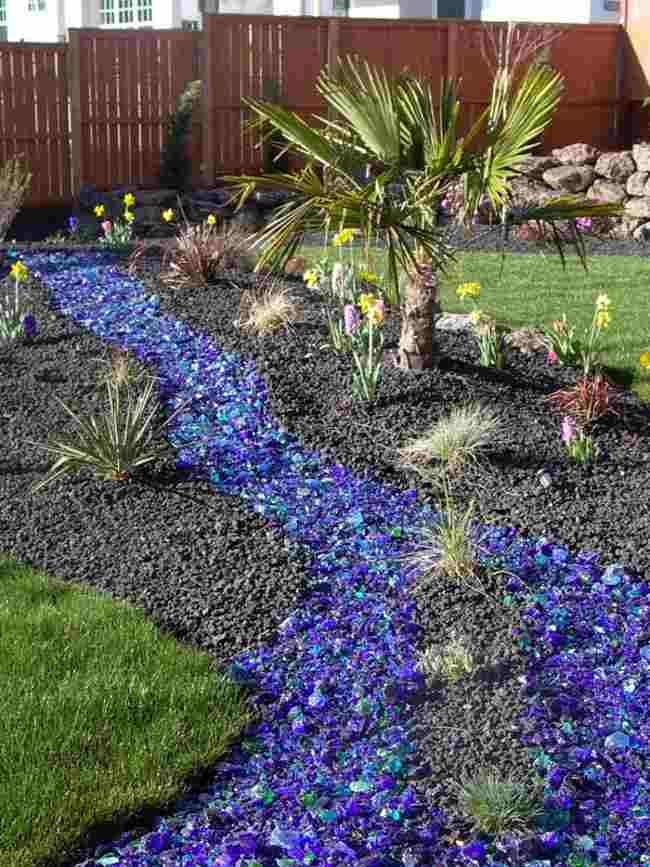 Blue Colored Landscape Rocks Landscaping With Rocks
