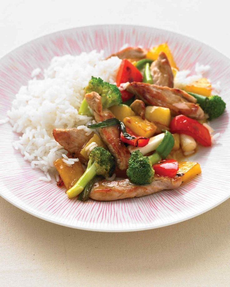 Pineapple and soy sauce combine to give this dish its sweet-sour flavor.