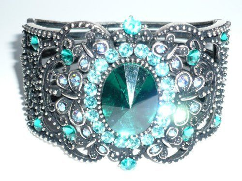 Antique Silverplated Blue Zircon Crystal Bangle Goldfinger. $14.95. Antique Silverplated Blue Zircon Crystal Bangle