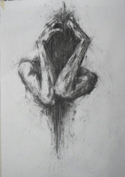 drawing art Black and White depressed depression pain draw insane satan sadness…