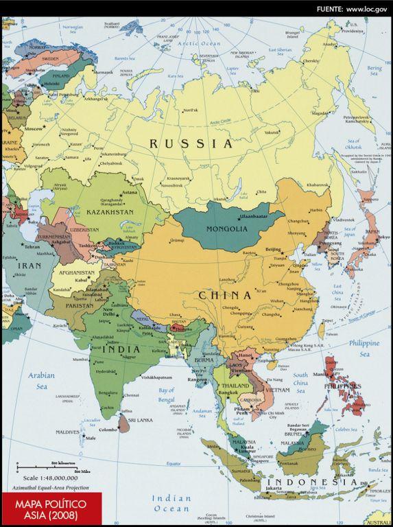 Mapa político de Asia (2008)