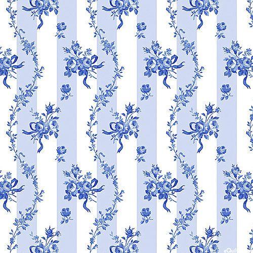 Porcelain Blue - Rose Garland Stripes - Baby Blue