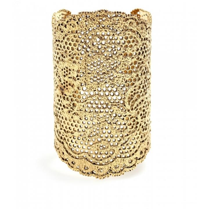 I would accessorize with these gold double cuffs for a decadent, yet understated look.  #TheLANEWeddings