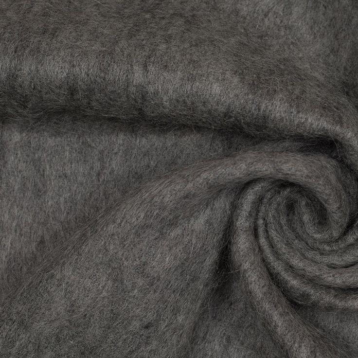 Heathered Gray Fuzzy Mohair-Wool-Acylic Woven Fabric by the Yard | Mood Fabrics