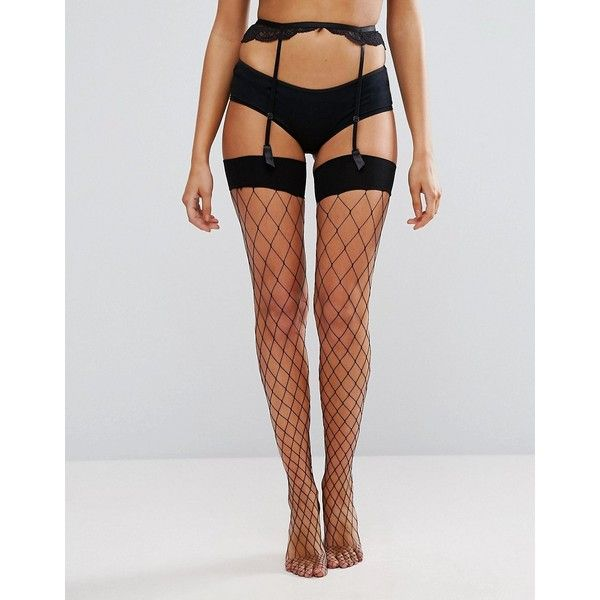 Ann Summers Large Fishnet Stocking ($15) ❤ liked on Polyvore featuring intimates, hosiery, tights, black, fishnet hosiery, transparent tights, fishnet tights, ann summers and sheer stockings