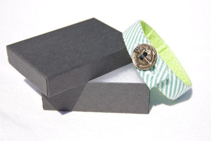 Material Anchor Bracelet - Lime Green & White