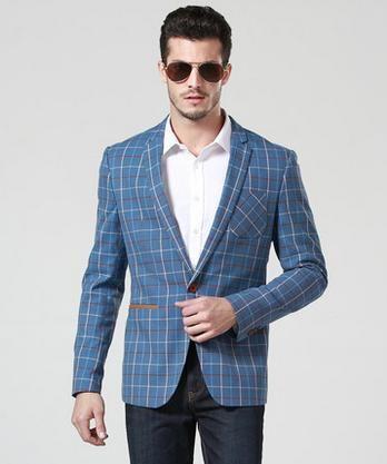 Синий красный шотландка приталенный fit мужчины пиджак chaquetones де-лос-hombres мужчины пиджак мужчины свободного покроя пиджаки синий официальный платья 2XL