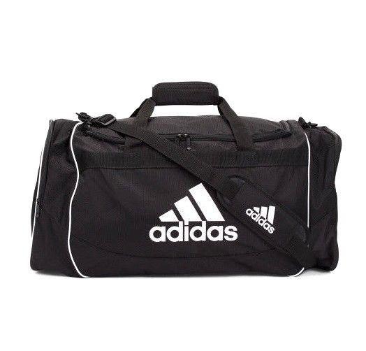 f81b2e849381 ADIDAS Defender Large Duffel Gym Bag Black and White Logo Unisex Sz Large   Adidas  DuffelGymBag