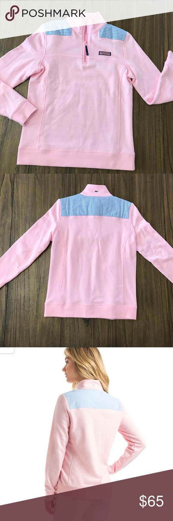 Vineyard Vines Oxford Stripe Pink Shep Shirt Gorgeous light pink Shep with blue and white Oxford stripes at shoulder. Women's XS Vineyard Vines Tops