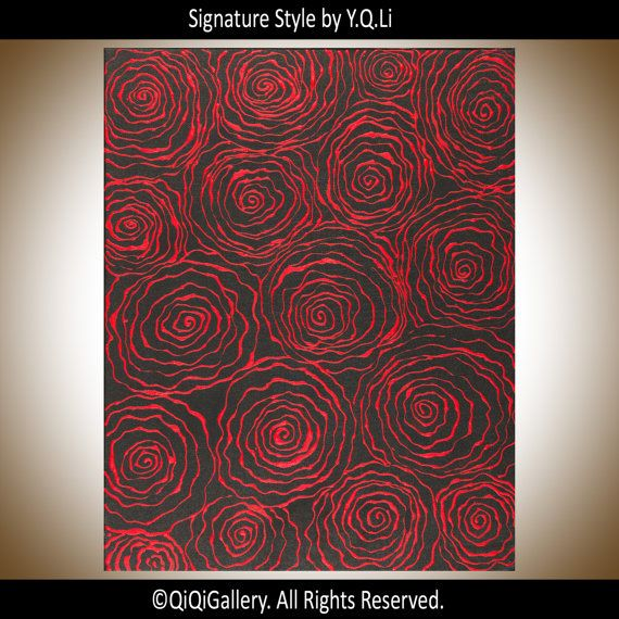 Red black art Abstract Roses acrylic Painting wall by QiQiGallery
