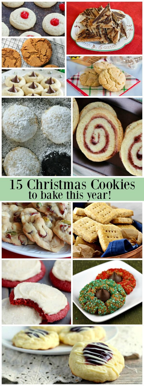 15 Christmas Cookie Recipes - find some new favorites in this collection:  Butter Dream Cookies, Eggnog Kiss Cookies, Raspberry Linzer Cookies and more!
