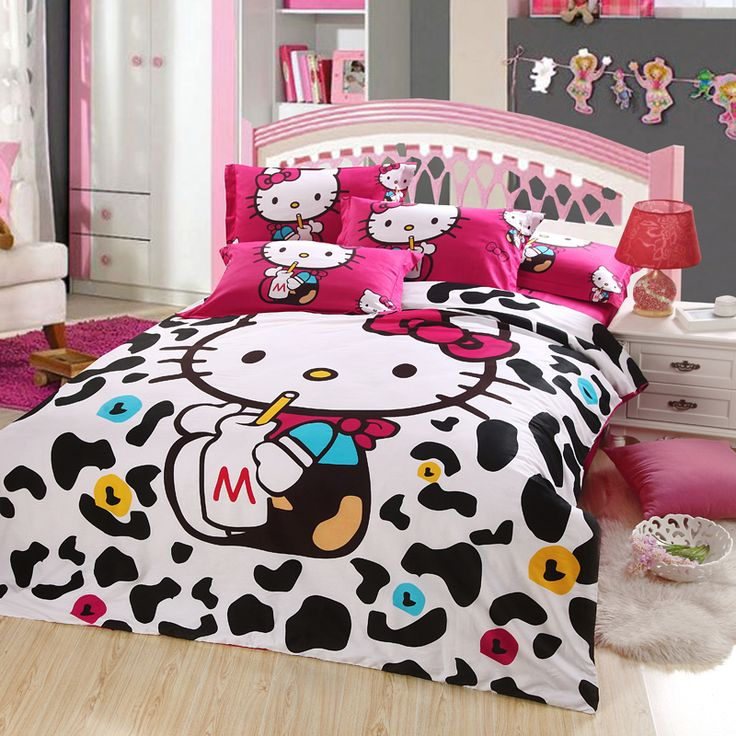 Hello kitty bedding set is Good For Hello kitty room decor . The colors are really sharp and clear. The bedding is made of a lovely soft 100% cotton .