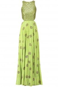 Marsala Jaal Embroidered Halter Anarkali Gown #Mishru #floral #indiandesigner…