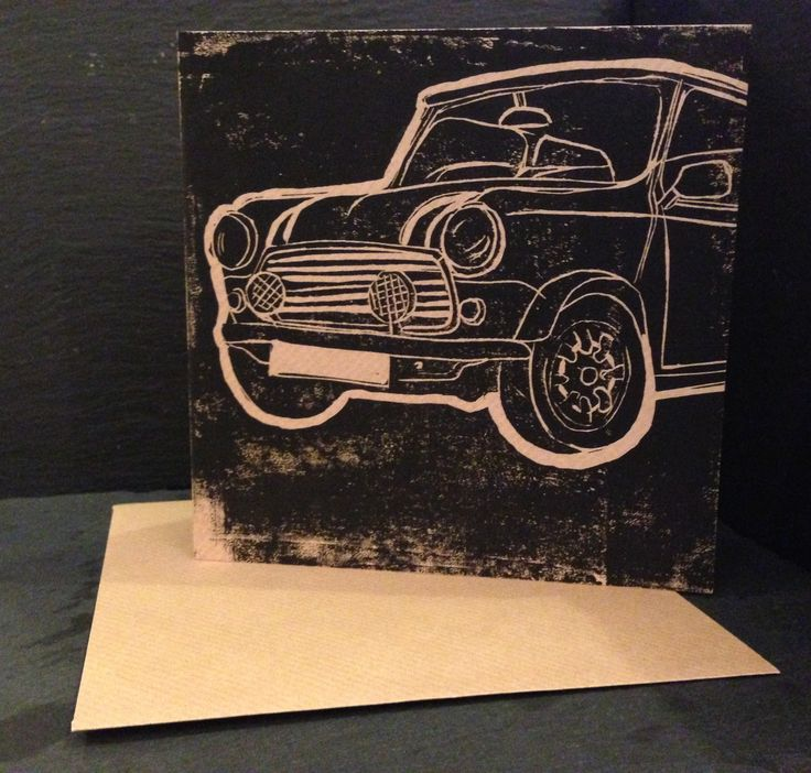Hand+Lino+Printed+E&V+MINI+Car+Greetings+Card, £1.50