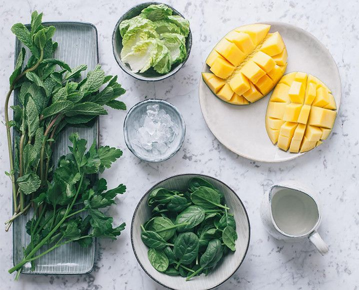 Get your greens in one delicious glass. Who knew a mint and mango smoothie could be so darn good for you?