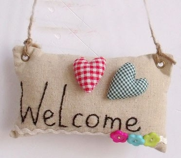 welcome: Sewing Crafts, Crochet Knits Sewing, Crochet Knitted Sewing, People, 布艺的Welcome门牌
