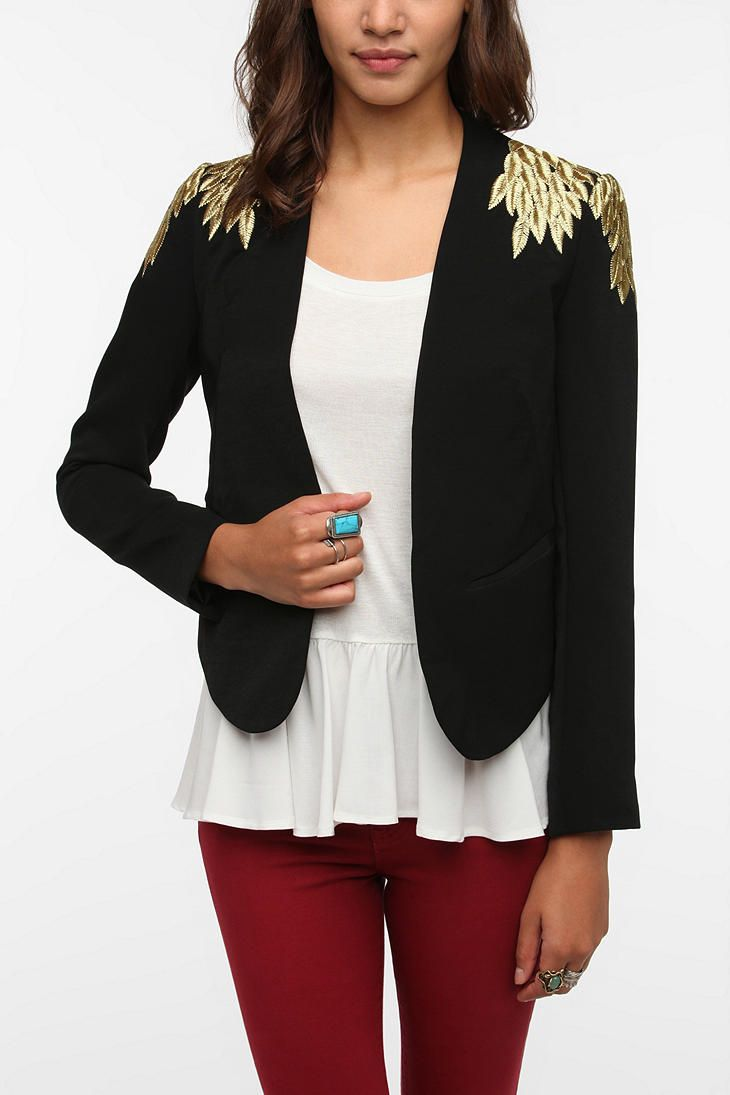 Sparkle & Fade Embroidered Leaves Blazer | Urban Outfitters
