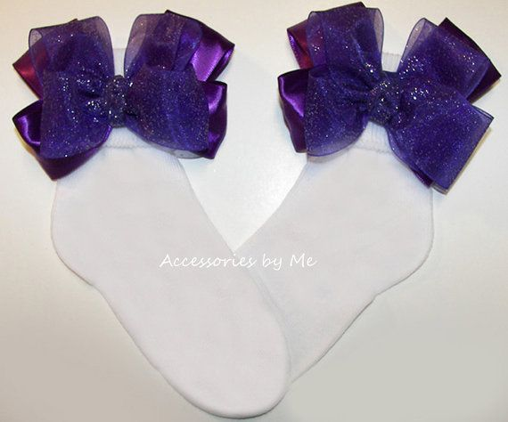 Purple Glitter Socks Organza Satin #Bow #Socks Baby Girls Toddler Accessorries Wedding Party #Pageant Recital Dress Up Boutique - by accessoriesbyme on #Etsy
