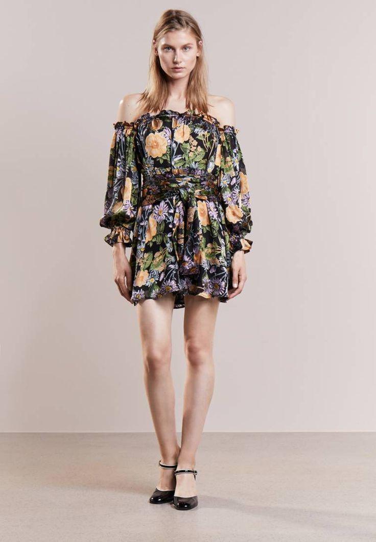 For Love & Lemons. LUCIANA - Sukienka koktajlowa - black. Materiał:75% wiskoza, 25% jedwab. długość:bardzo krótka. Rodzaj dekoltu:typu Carmen. Wskazówki pielęgnacyjne:czyszczenie chemiczne. Długość rękawa:długi rękaw,50 cm w rozmiarze S. wzór:w kwiatki. P...