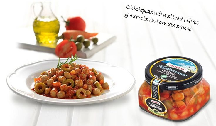 Chickpeas with sliced olives & carrots in tomato sauce. Gourmet Greek food and salads. Made by purest ingredients. All healthy,a ll Greek! http://agoragreekdelicacies.co.uk/online-shop/4570272291/Gourmet