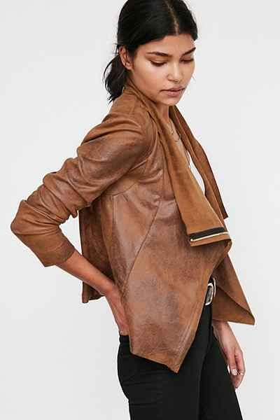 Silence + Noise Riley Drapey Vegan Suede Jacket - Urban Outfitters