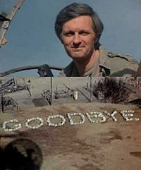 February 28, 1983 the last episode of M*A*S*H aired on TV. I will watch the last episode next Friday, love the look on Hawkeye's face as he takes off in the helicopter and sees the 'GOODBYE' :)