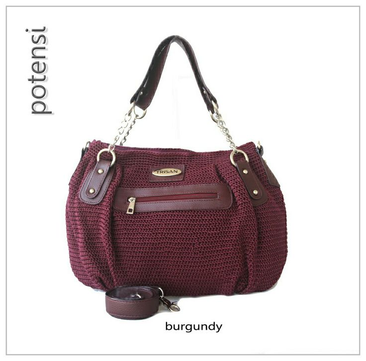 POTENSI crochet bag by TRisAN color : burgundy materials : nylon crochet mix syntetic leather size (cm) : 40 x 28 x 10 price (IDR) : 315.000