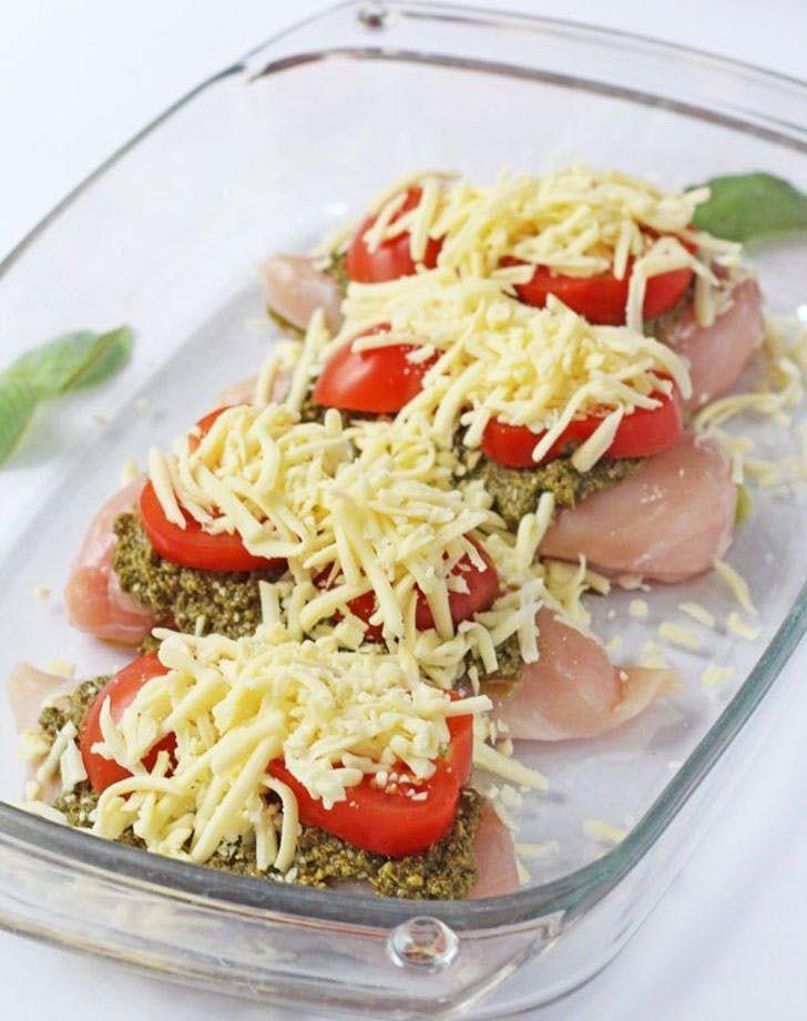 Mozzarella, tomato and basil pesto chicken. More cheese, please. Get the recipe.