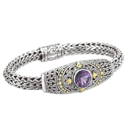 925 Silver & Amethyst Sunburst Bracelet with 18k Gold Accents- 7.5 IN Element Jewelry. $599.00. Part of the New Italian Deluxe Designer Collection. Matching Pieces Also Available. Satisfaction Guaranteed. Flawlessly Polished .925 Sterling Silver & 18k Yellow Gold. Genuine Natural Amethyst