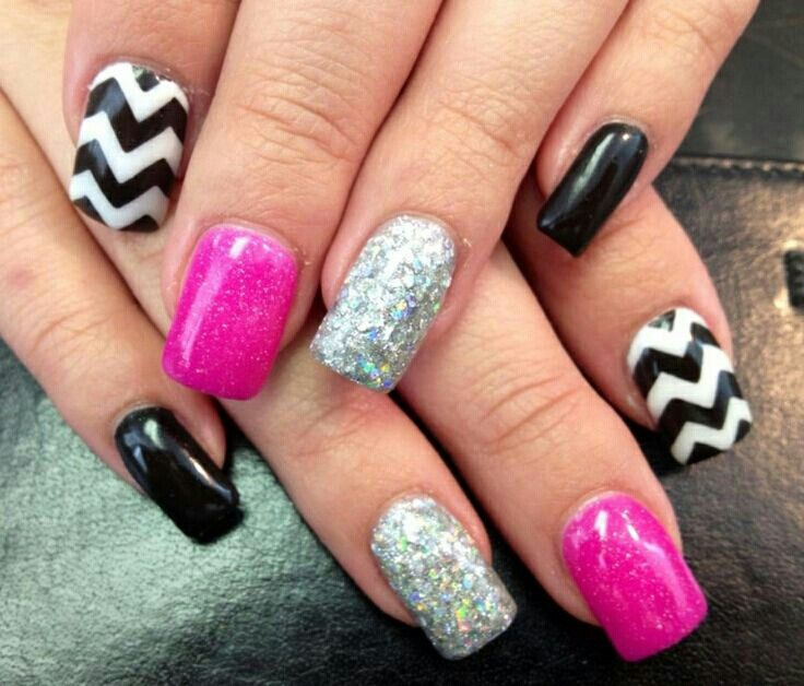 glitter and hot pink acrylic nails nails pinterest
