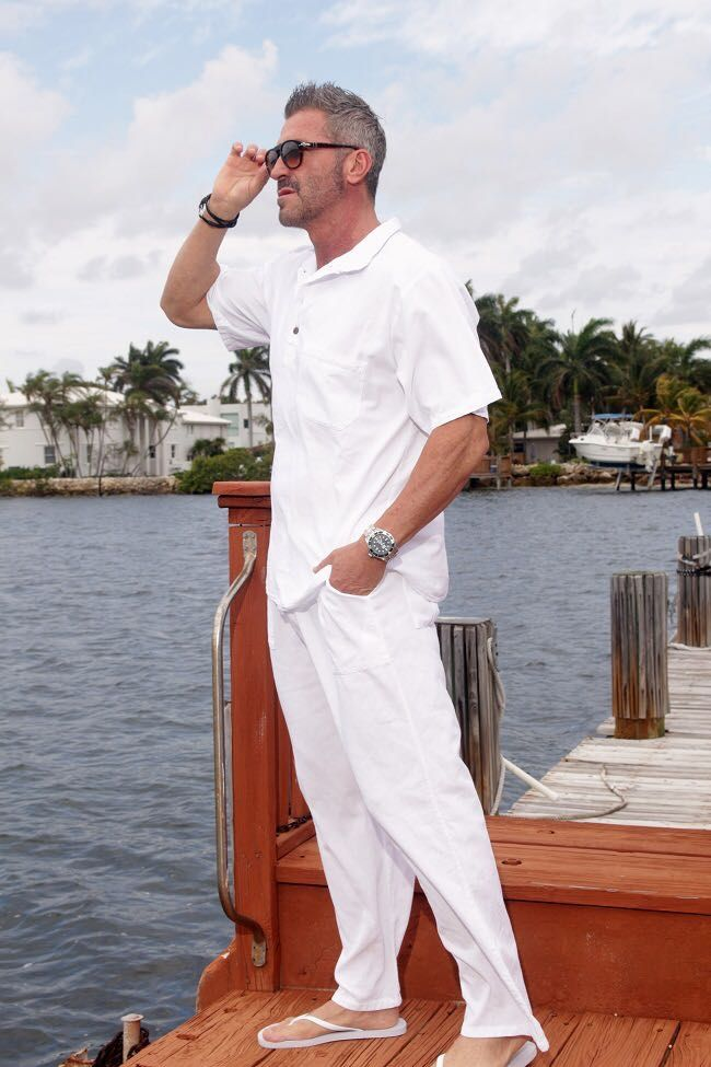 SAYRUS Organic Cotton Spandex Waist relaxed fit Men's Pant via Cottage Chic Closet. Click on the image to see more!