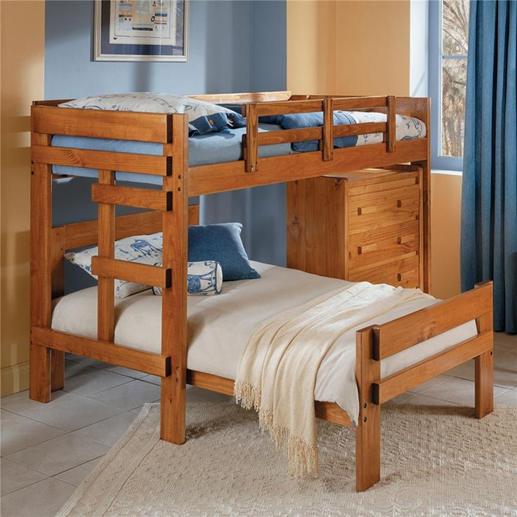 Best Heartland Br L Shaped Loft Twin Over Full Bunk Bed With By 640 x 480