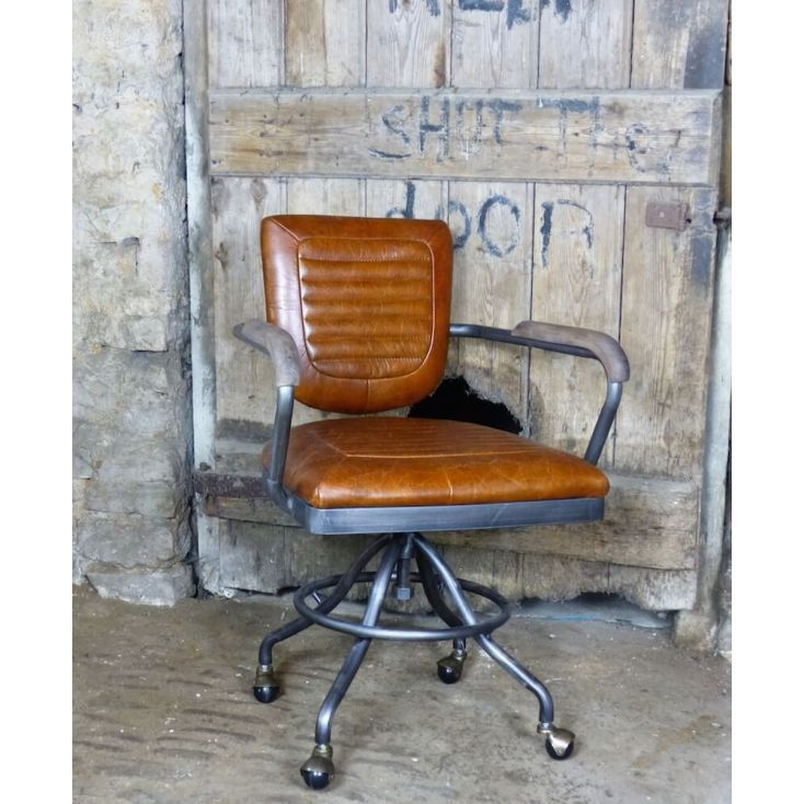 Aviation Aviator Industrial Tan Grey Leather Office Chair