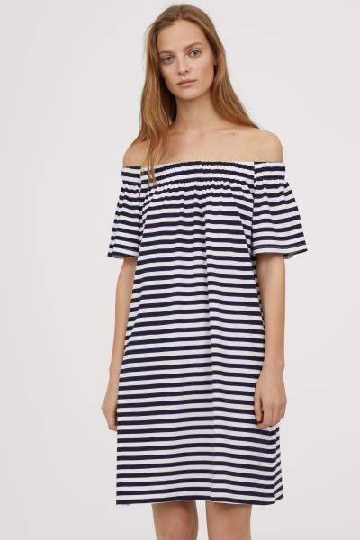 18c7a62cbcd8 Off-the-shoulder Cotton Dress | Lounge | Dresses, Cotton dresses ...