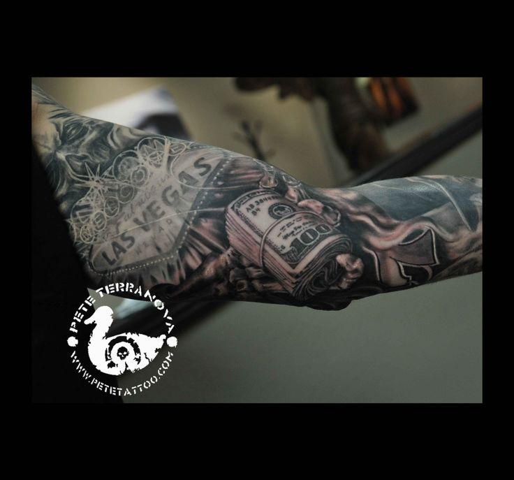 Black and gray money roll on vegas sleeve custom tattoos for Money tattoo sleeve