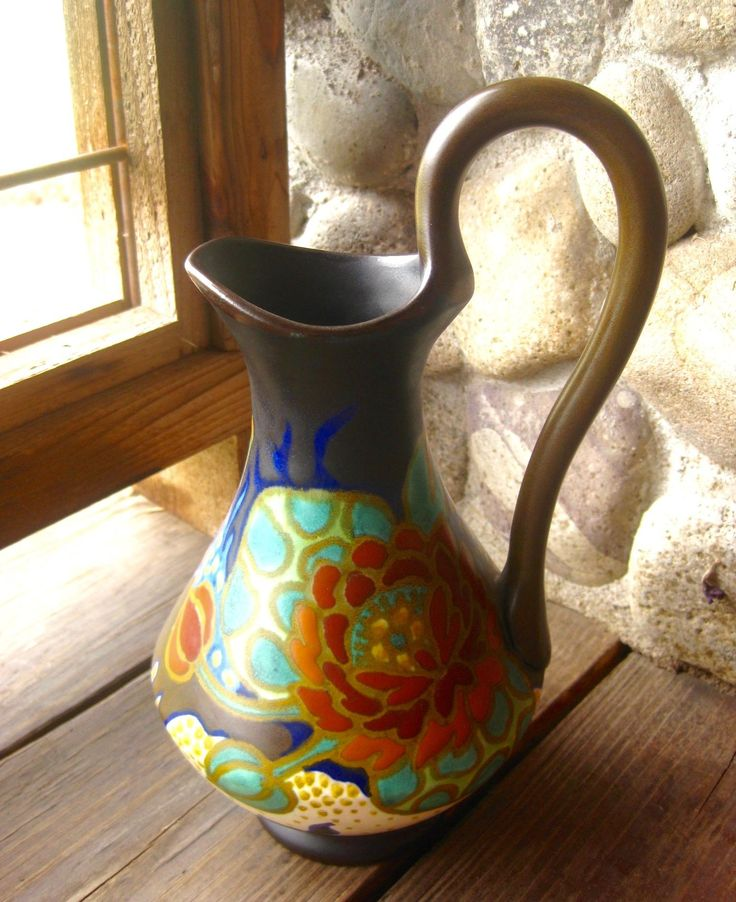 Large Gouda Pottery Vase, Pitcher, Bloemen Design, Circa 1929, $149. Available from River House Art Pottery at rubylane.com.