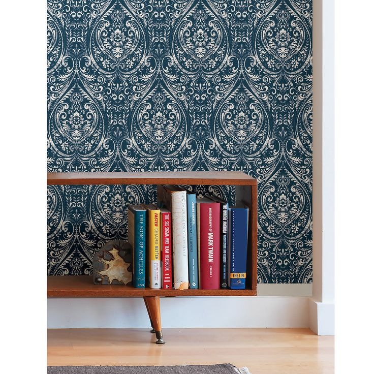 "WallPops! Nu 18' x 20.5"" Bohemian Damask Indigo Peel and Stick Wallpaper"