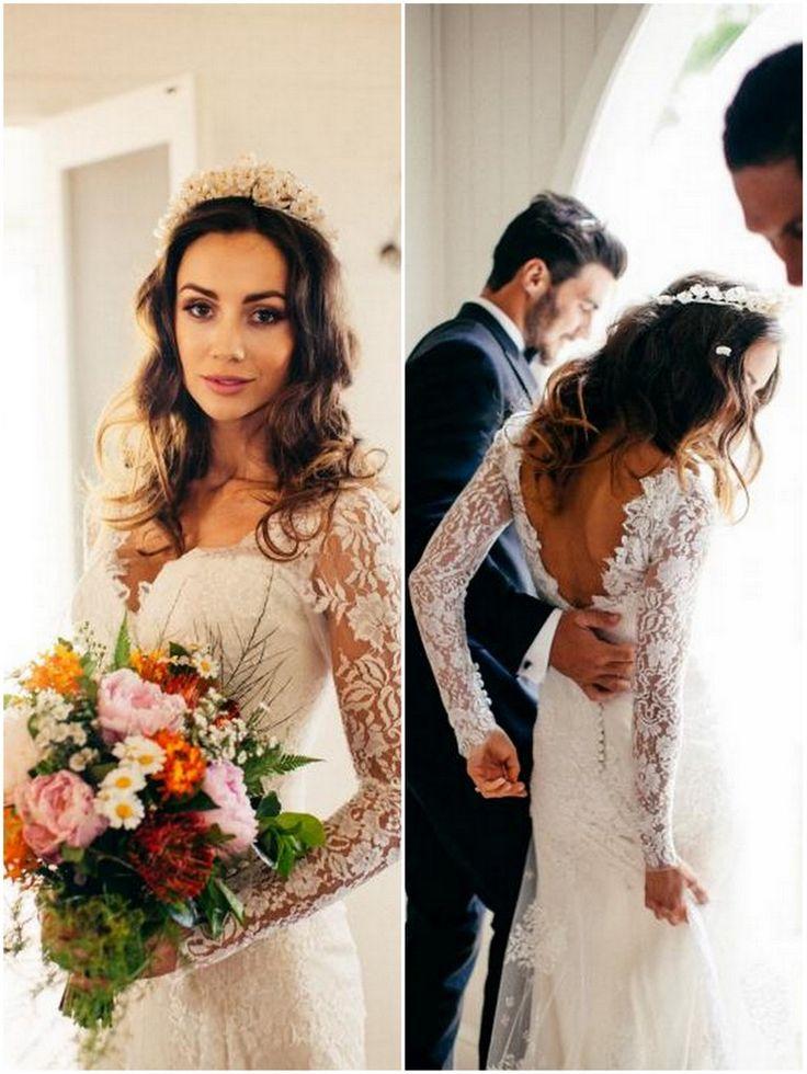 Long Sleeved Wedding Dresses: V-Neck italian lace long sleeved dress with button details at the back | Bride's Dress Designer: Leah Da Gloria | Real Bride: Krystal | Photography: Rachel Kara & Tim Ashton
