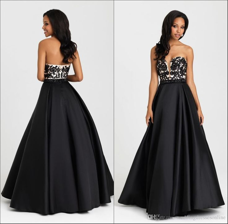 Prepare the prom dress designers for the upcoming prom? Then you need to see  romantic black long a-line prom dresses 2016 formal satin with applique sweetheart neckline sleeveless floor length quinceanera party dress in weddingdressesonline and other prom dress shop and prom dresses for kids on DHgate.com.
