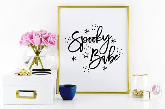 Spooky Babe. PRINTABLE ART. Typography digital print. Home