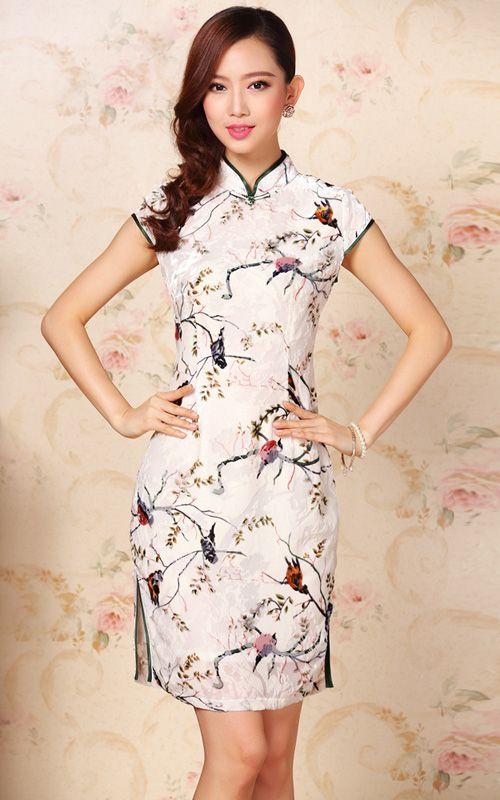 White silk velvet floral bird cheongsam short traditional Chinese qipao dress 003