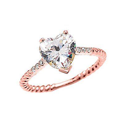 3 Carat Heart Cubic Zirconia 10k Rose Gold Promise Ring